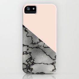 Peach and silver marble metallic iPhone Case