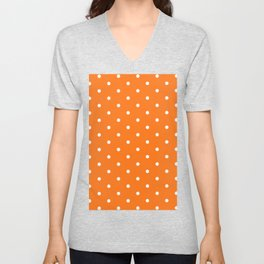 Polka Dots Pattern Vivid Orange and White Unisex V-Neck