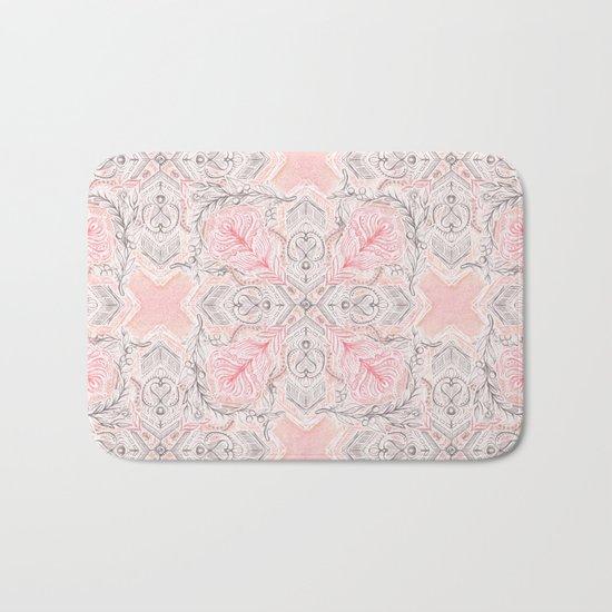 Peaches and Cream Doodle Tile Pattern Bath Mat