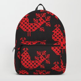 bird peacock Ornament of folk embroidery, red contour on black background Backpack