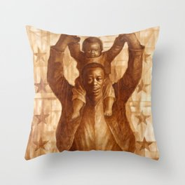 African-American Classical Masterpiece 'Black Father & Son, 1865' by Charles White Throw Pillow