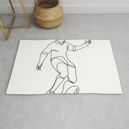 Rugby Player Kicking Ball Continuous Line Rug