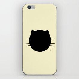 Black cat-Pastel yellow iPhone Skin