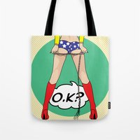 dc comics Tote Bags featuring COMICS by mark ashkenazi