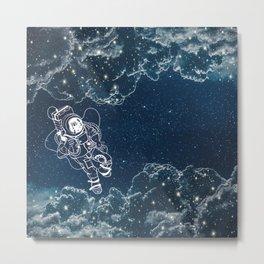 Astronaut & Space Clouds Metal Print