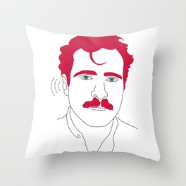 Blue-tooth pink mustache guy Throw Pillow