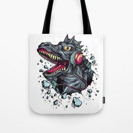 Dino with Headphones Grey Ebony Clay Tote Bag