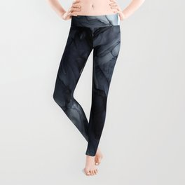 Gray Black Gradient Dramatic Flowing Abstract Painting Leggings