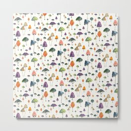 Watercolor mushrooms pattern on cream background Metal Print