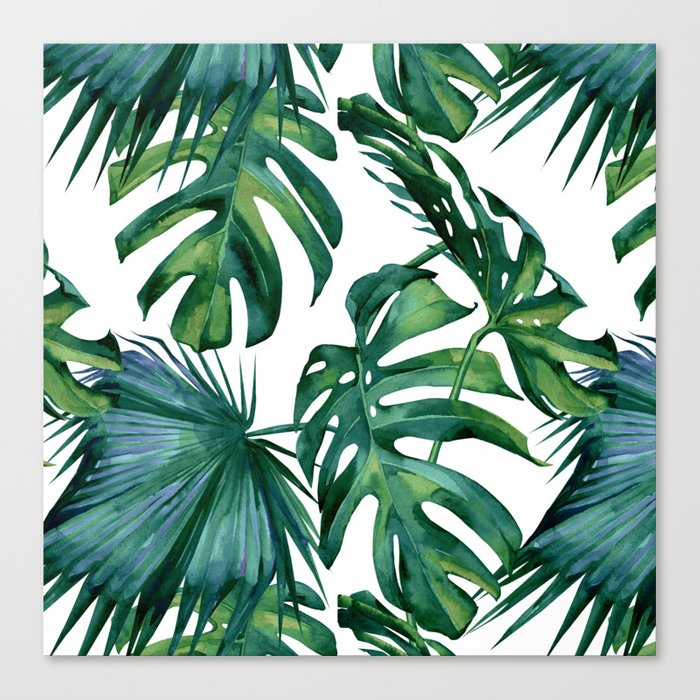 Classic Palm Leaves Tropical Jungle Green Canvas Print