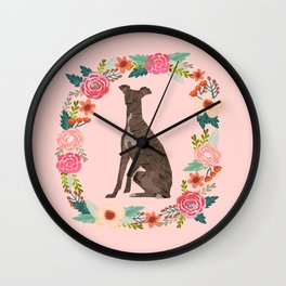 italian greyhound floral wreath dog breed pet portrait pure breed dog lovers Wall Clock