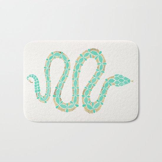 Mint & Gold Serpent Bath Mat