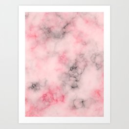 Pink and gray marble Art Print