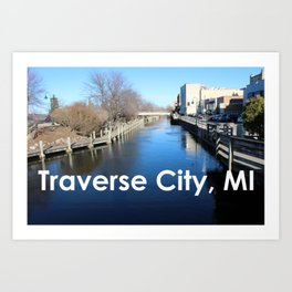 Traverse City, Michigan - Boardman River Art Print