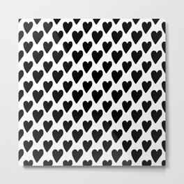 Black and white hearts Metal Print