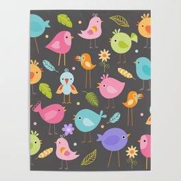 Birds - Gray Poster