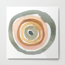 Minimalist Watercolor Circles Rings Neutral Terracotta Pink Metal Print