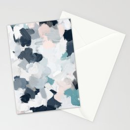 Navy Indigo Blue Blush Pink Gray Mint Abstract Air Clouds Art Sky Painting Stationery Cards