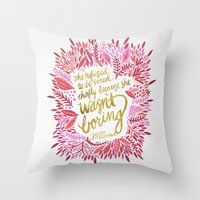 fitzgerald Throw Pillows featuring Zelda Fitzgerald – Pink on White by Cat Coquillette