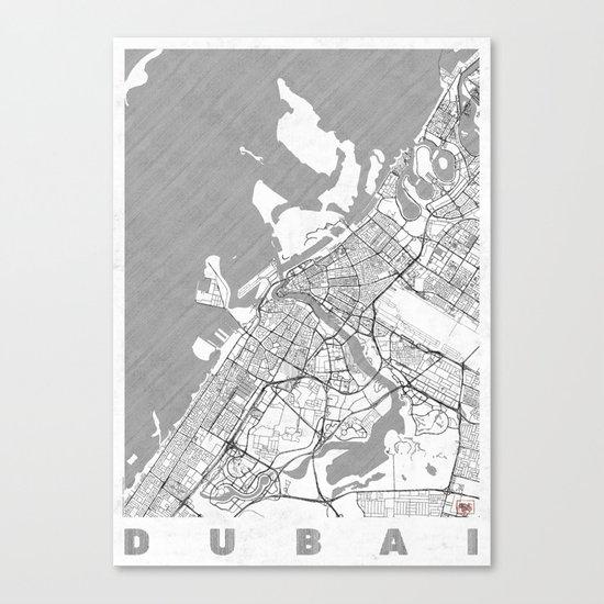 Dubai Map Line Canvas Print