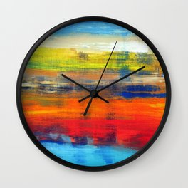 Horizon Blue Orange Red Abstract Art Wall Clock
