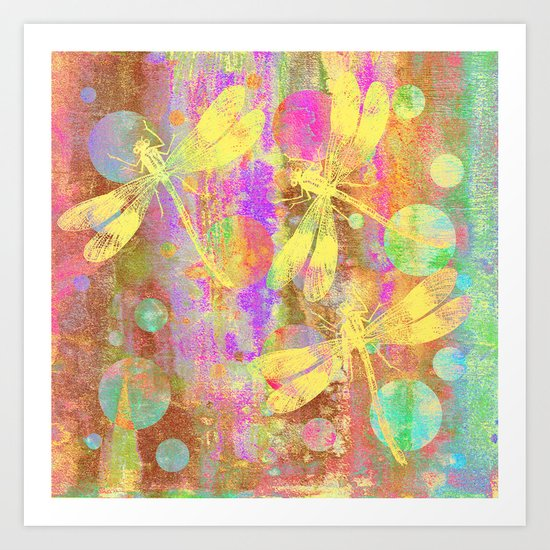 A Dragonflies and Dots Art Print