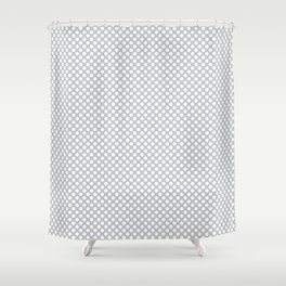 Glacier Gray and White Polka Dots Shower Curtain