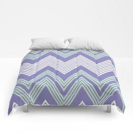 Purple & Mint Skinny Chevron Comforters