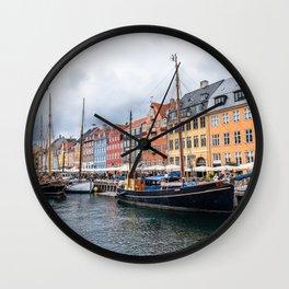 Nyhavn waterfront in Copenhagen Wall Clock
