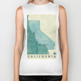 California State Map Blue Vintage Biker Tank