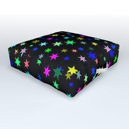 Stars on black ground Outdoor Floor Cushion
