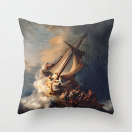 Christ in the Storm on the Sea of Galilee, Rembrandt Van Rijn Throw Pillow