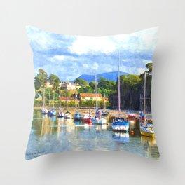 Boats in Harbour, Caernarvon Throw Pillow