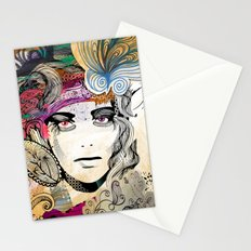 colorful floral girl Stationery Cards