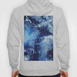 Clarity Abstract Print - Blue Fluid Liquid Art Hoody