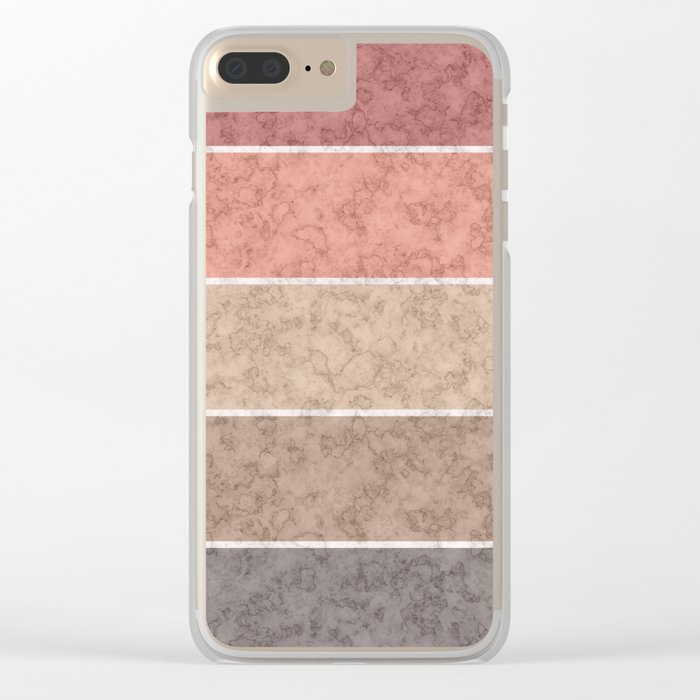 Pink and gray marble striped pattern . Clear iPhone Case