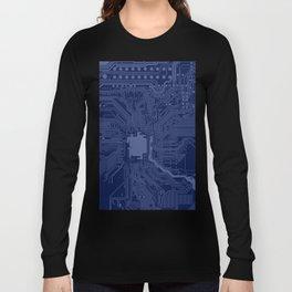 Blue Geek Motherboard Circuit Pattern Long Sleeve T-shirt