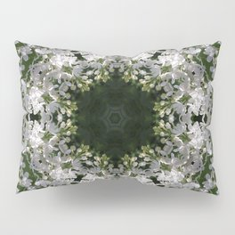 Botanical lace, white lilac mandala /kaleidoscope Pillow Sham