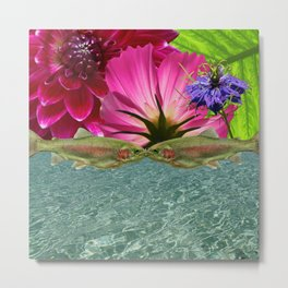 Kissing Trout with Water and Flower Metal Print
