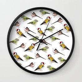 Year of the Bird (European Goldfinch, Kinglet, Long-tailed Bushtit) Wall Clock