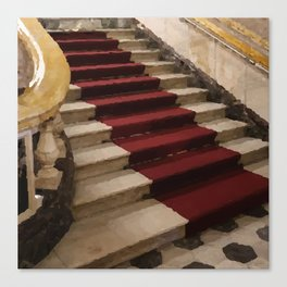 Stairs with red carpet Canvas Print