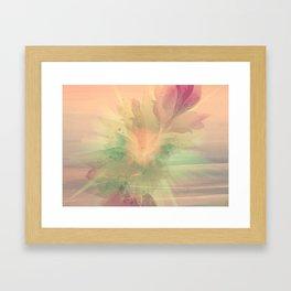 Peach Pastel Color Burst Abstract Framed Art Print