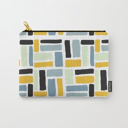 Abstract yellow black geometric modern brushstrokes  pattern Carry-All Pouch