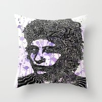 bob dylan Throw Pillows featuring Bob Dylan by Travis Poston