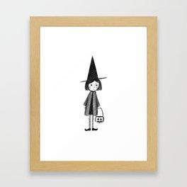 Little Halloween Witch Illustration Framed Art Print