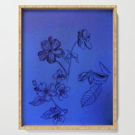 Blue Botanical Serving Tray