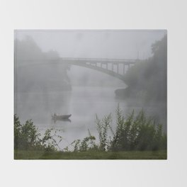 Foggy Fishing Day on the Delaware River Throw Blanket