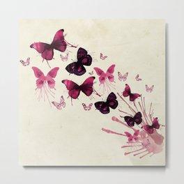 Purple flying butterflies Metal Print