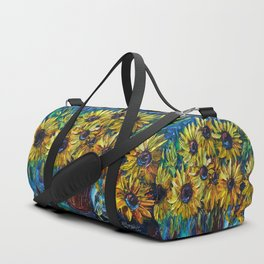 Sunflowers In A Vase Palette Knife Painting Duffle Bag