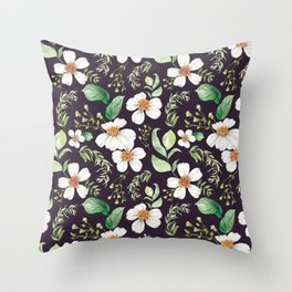Modern purple green white watercolor daisies floral Throw Pillow